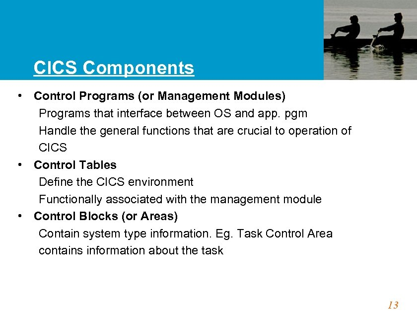 CICS Components • Control Programs (or Management Modules) Programs that interface between OS and