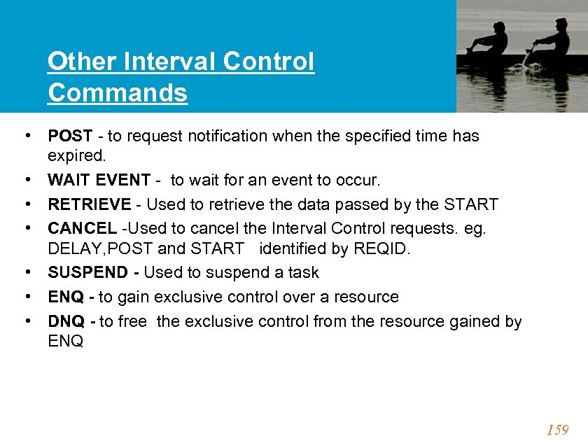 Other Interval Control Commands • POST - to request notification when the specified time