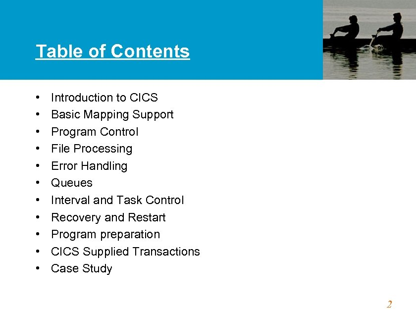 Table of Contents • • • Introduction to CICS Basic Mapping Support Program Control
