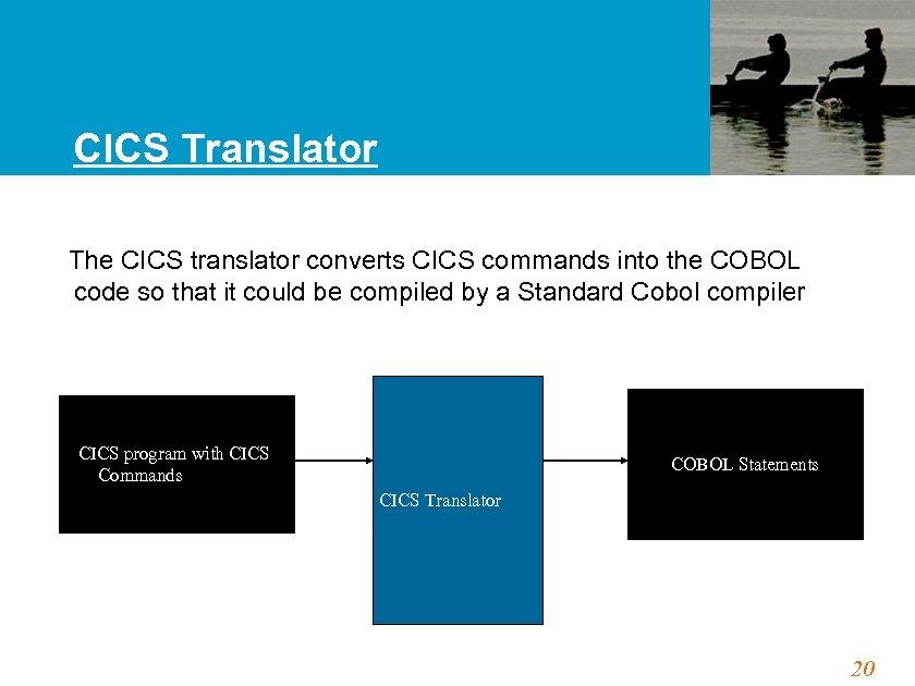 CICS Translator The CICS translator converts CICS commands into the COBOL code so that