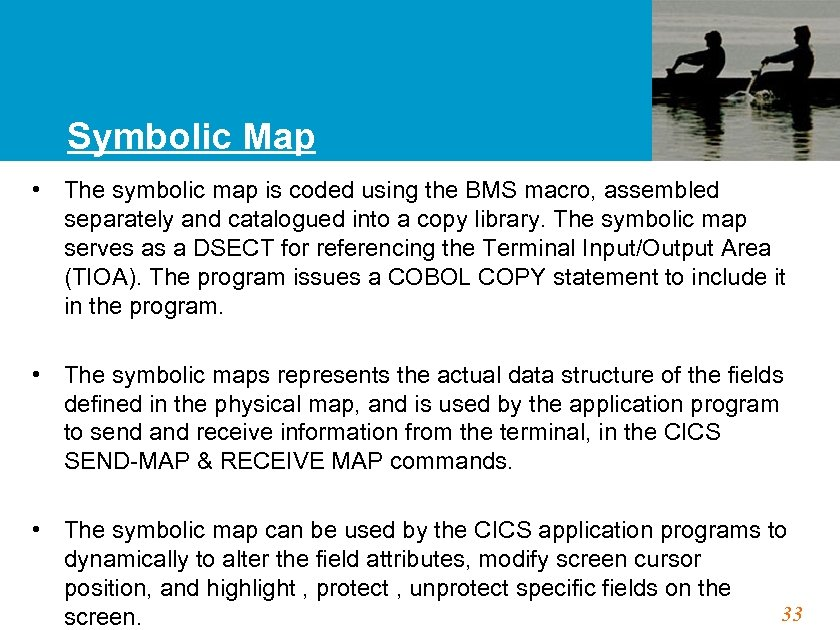 Symbolic Map • The symbolic map is coded using the BMS macro, assembled separately