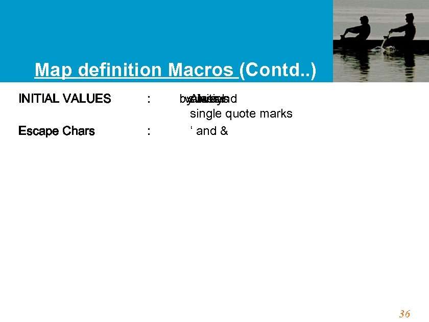Map definition Macros (Contd. . ) INITIAL VALUES : Escape Chars : by. Always