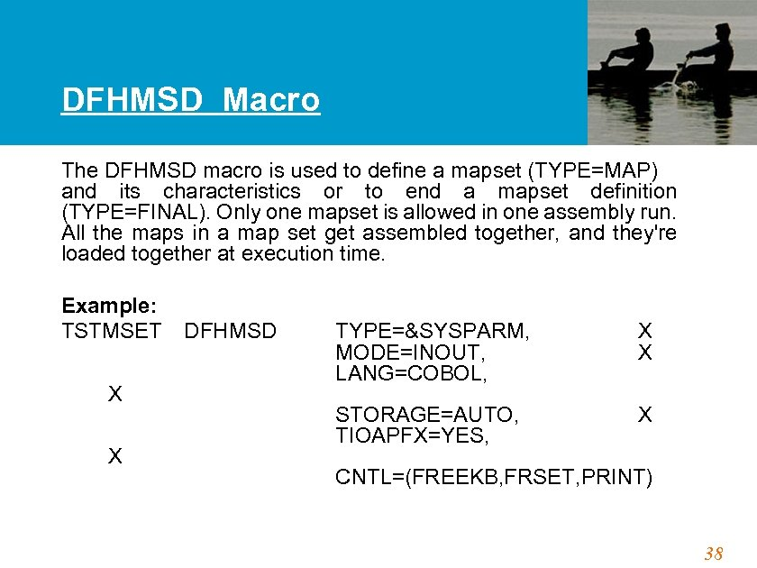 DFHMSD Macro The DFHMSD macro is used to define a mapset (TYPE=MAP) and its