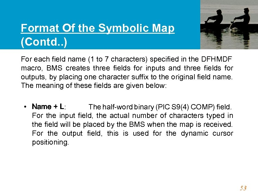 Format Of the Symbolic Map (Contd. . ) For each field name (1 to
