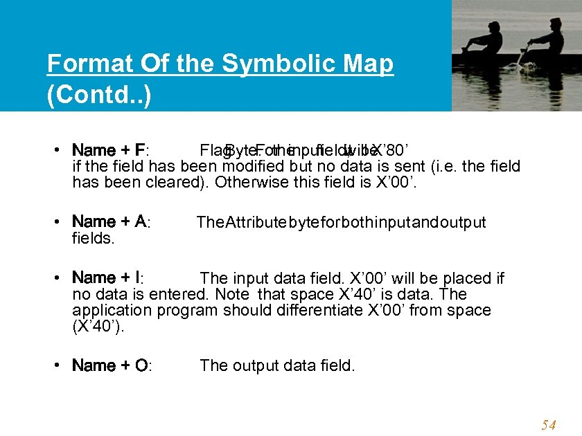 Format Of the Symbolic Map (Contd. . ) • Name + F: Flag For