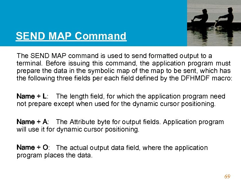 SEND MAP Command The SEND MAP command is used to send formatted output to