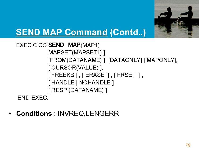 SEND MAP Command (Contd. . ) EXEC CICS SEND MAP(MAP 1) MAPSET(MAPSET 1) ]