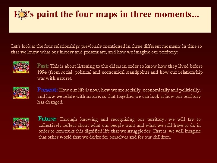 Let's paint the four maps in three moments. . . Let's look at