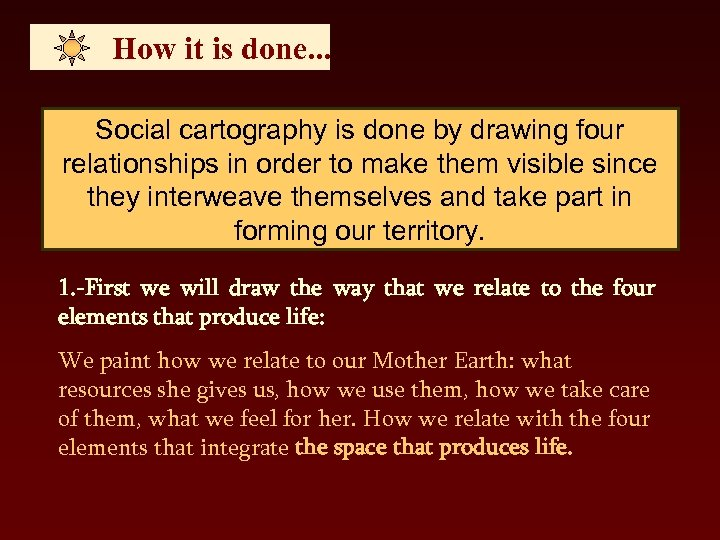 How it is done. . . Social cartography is done by drawing four relationships
