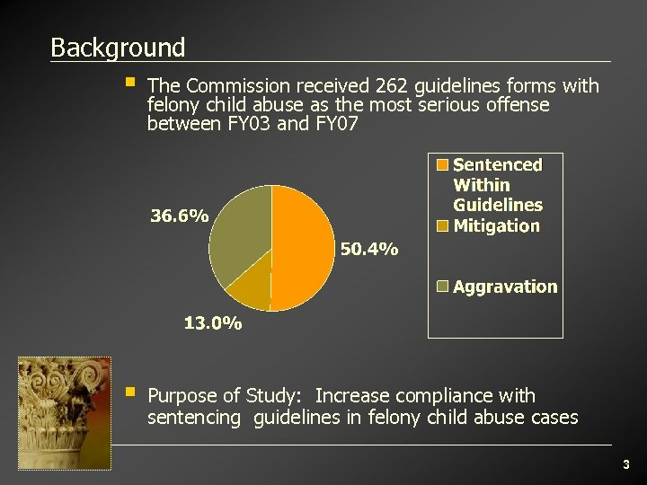 Background § The Commission received 262 guidelines forms with felony child abuse as the