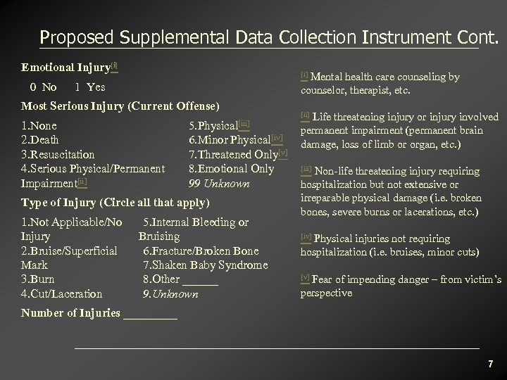 Proposed Supplemental Data Collection Instrument Cont. Emotional Injury[i] 0 No Mental health care counseling