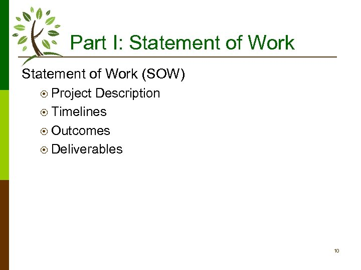 Part I: Statement of Work (SOW) ¤ Project Description ¤ Timelines ¤ Outcomes ¤