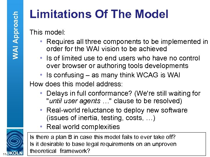 WAI Approach 11 Limitations Of The Model This model: • Requires all three components