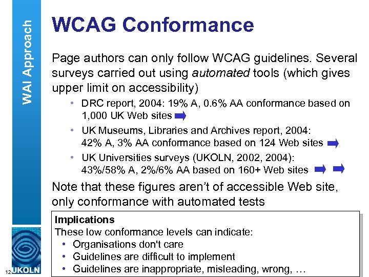 WAI Approach WCAG Conformance Page authors can only follow WCAG guidelines. Several surveys carried