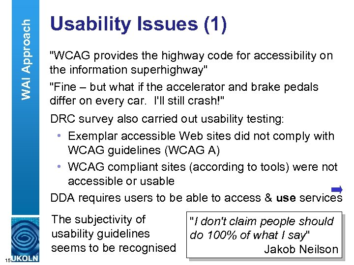 WAI Approach Usability Issues (1)