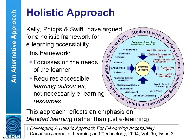 An Alternative Approach Holistic Approach Kelly, Phipps & Swift 1 have argued for a