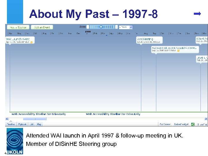 About My Past – 1997 -8 Attended WAI launch in April 1997 & follow-up