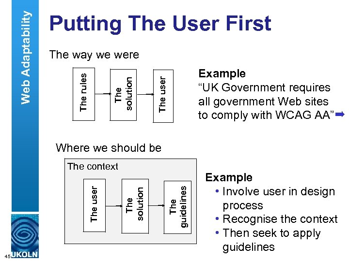 "The way we were Example ""UK Government requires all government Web sites to comply"