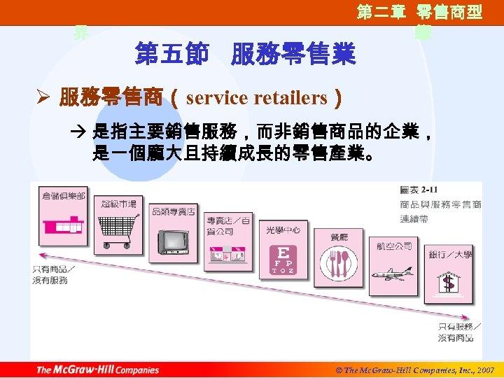 第一篇 零售的世 界 第五節 服務零售業 第二章 零售商型 第二章 零售商類 態 型 Ø 服務零售商(service retailers)