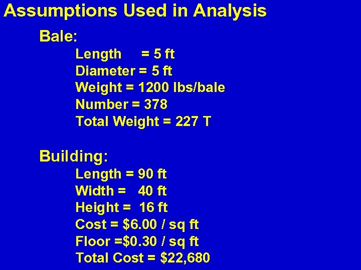 Assumptions Used in Analysis Bale: Length = 5 ft Diameter = 5 ft Weight