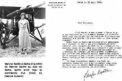 Maryse Bastié à Batna et la lettre de Maryse Bastié au club de Batna,