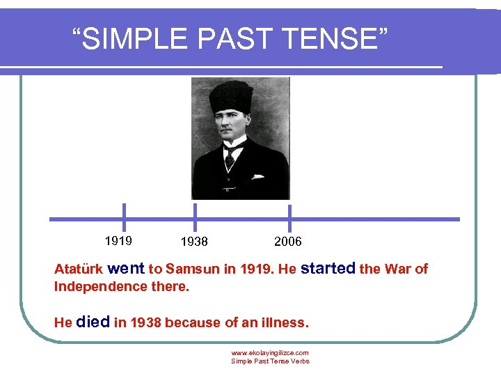 """SIMPLE PAST TENSE"" 1919 1938 2006 Atatürk went to Samsun in 1919. He started"
