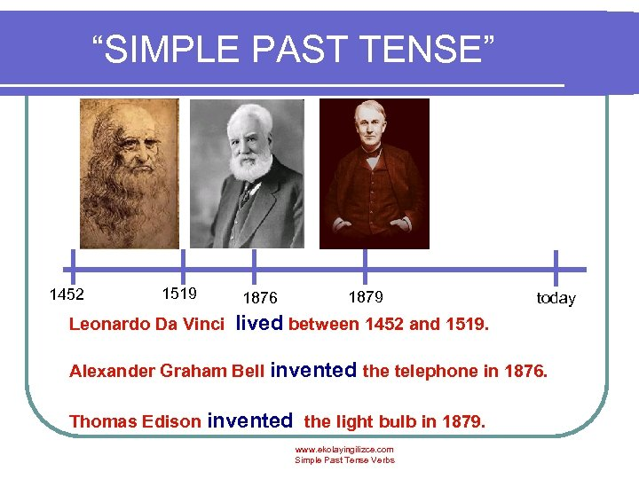 """SIMPLE PAST TENSE"" 1452 1519 Leonardo Da Vinci 1876 1879 today lived between 1452"