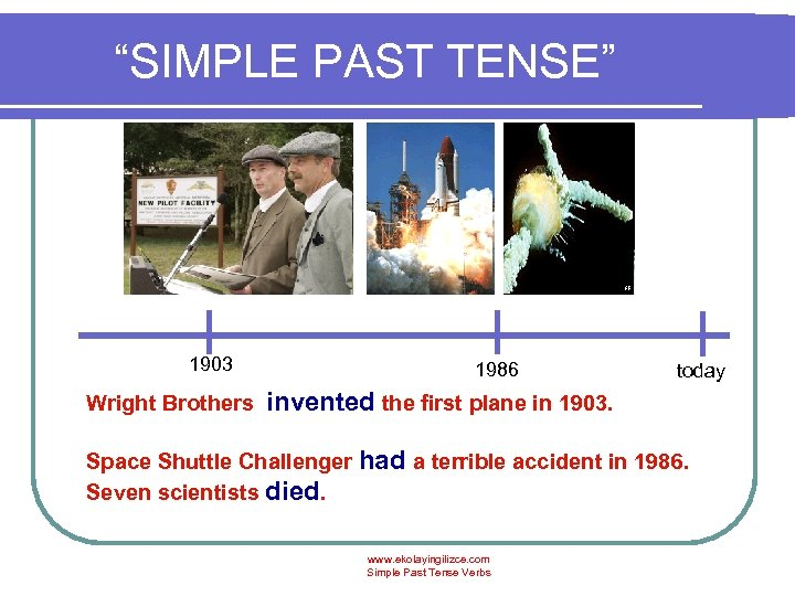 """SIMPLE PAST TENSE"" 1903 Wright Brothers 1986 today invented the first plane in 1903."