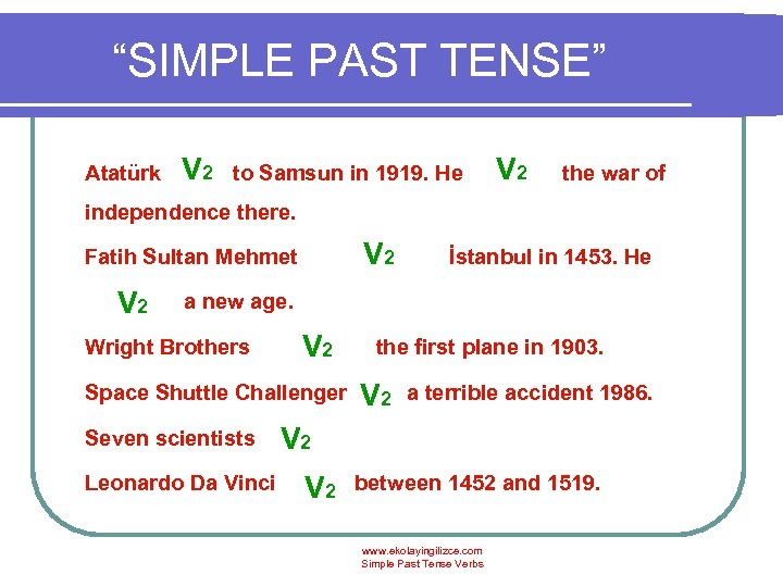 """SIMPLE PAST TENSE"" V 2 Atatürk went to Samsun in 1919. He started the"