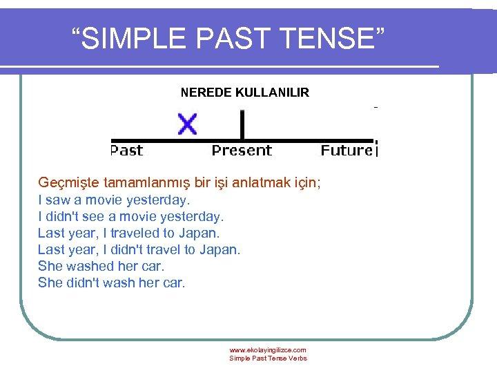 """""""SIMPLE PAST TENSE"""" NEREDE KULLANILIR Geçmişte tamamlanmış bir işi anlatmak için; I saw a"""