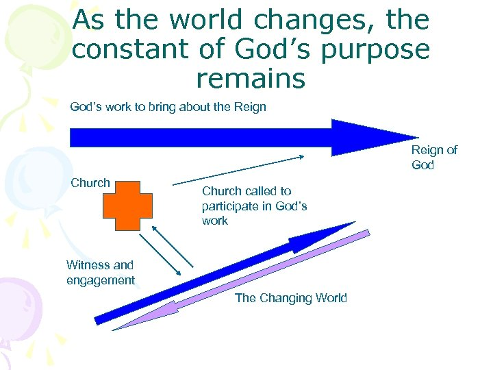As the world changes, the constant of God's purpose remains God's work to bring