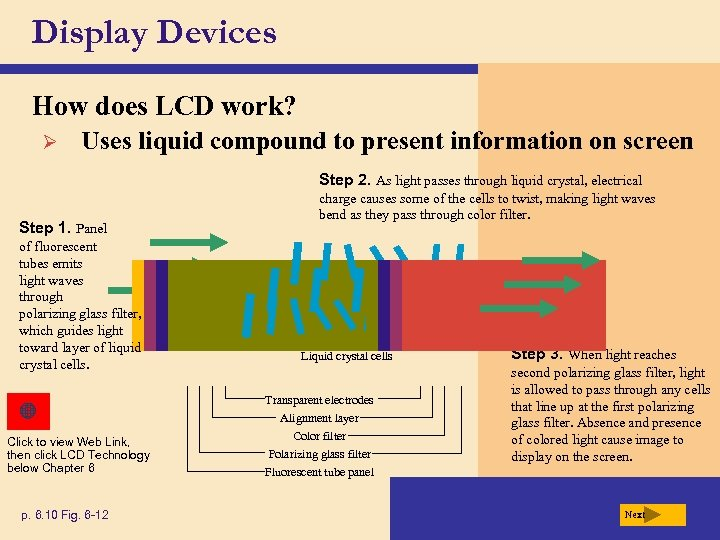 Display Devices How does LCD work? Ø Uses liquid compound to present information on