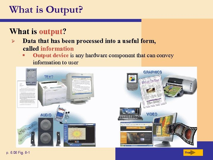 What is Output? What is output? Ø Data that has been processed into a