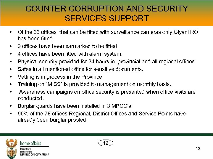 COUNTER CORRUPTION AND SECURITY SERVICES SUPPORT • • • Of the 33 offices that