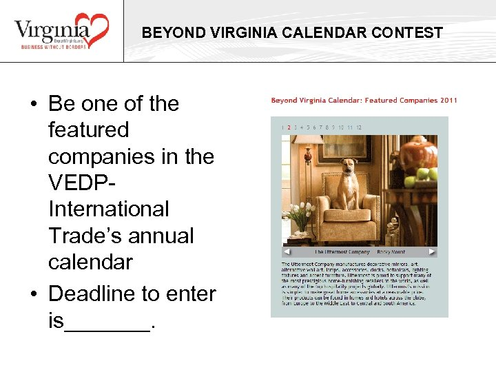 BEYOND VIRGINIA CALENDAR CONTEST • Be one of the featured companies in the VEDPInternational