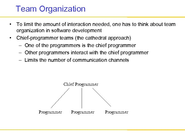 Team Organization • To limit the amount of interaction needed, one has to think