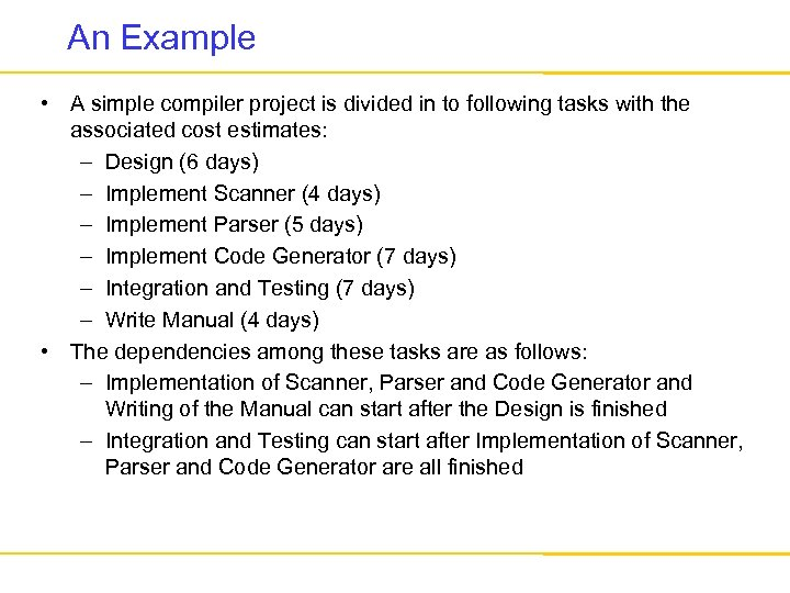 An Example • A simple compiler project is divided in to following tasks with