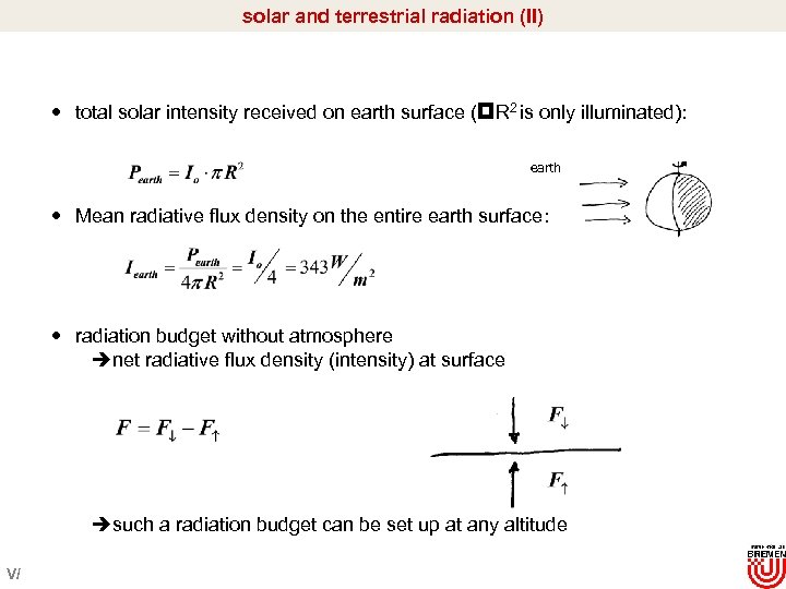 solar and terrestrial radiation (II) total solar intensity received on earth surface ( R