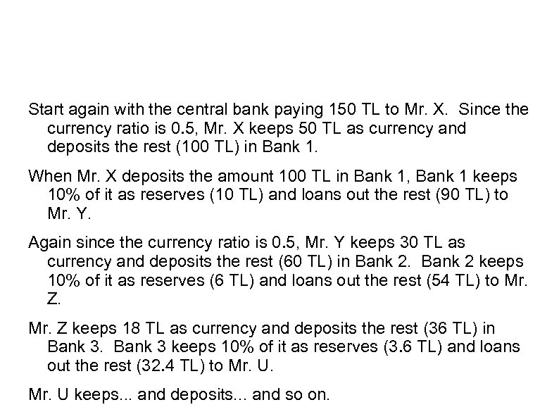 Start again with the central bank paying 150 TL to Mr. X. Since the