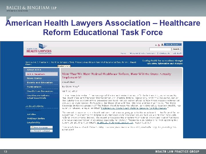 American Health Lawyers Association – Healthcare Reform Educational Task Force 13