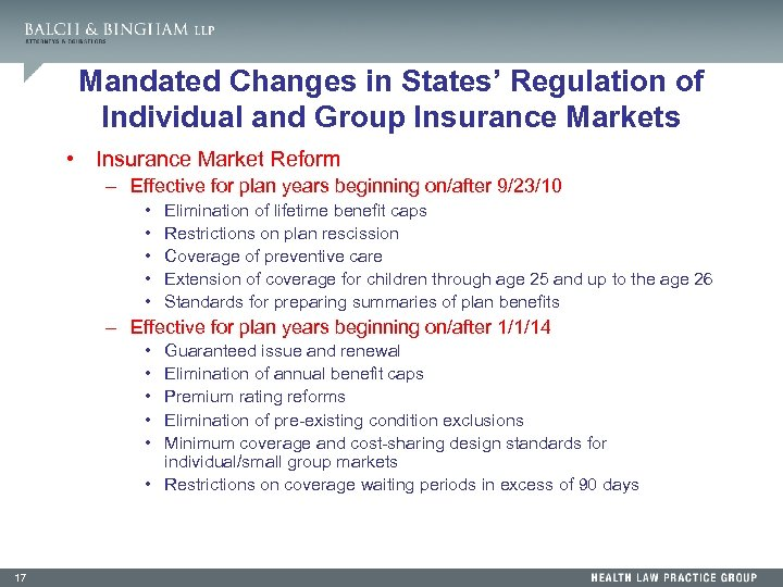 Mandated Changes in States' Regulation of Individual and Group Insurance Markets • Insurance Market