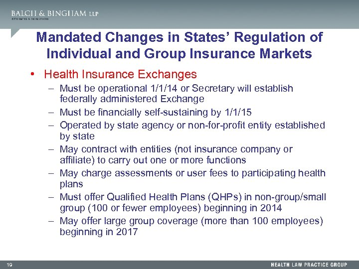 Mandated Changes in States' Regulation of Individual and Group Insurance Markets • Health Insurance