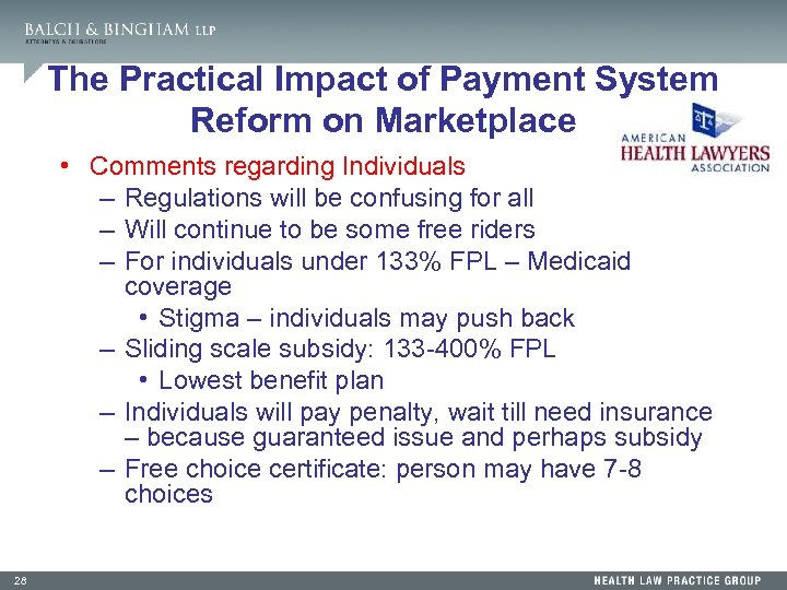 The Practical Impact of Payment System Reform on Marketplace • Comments regarding Individuals –