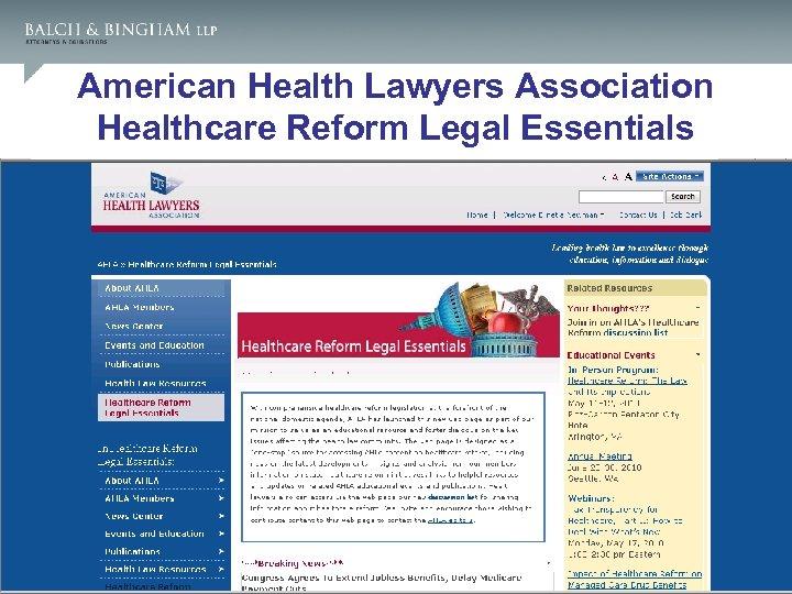 American Health Lawyers Association Healthcare Reform Legal Essentials 3