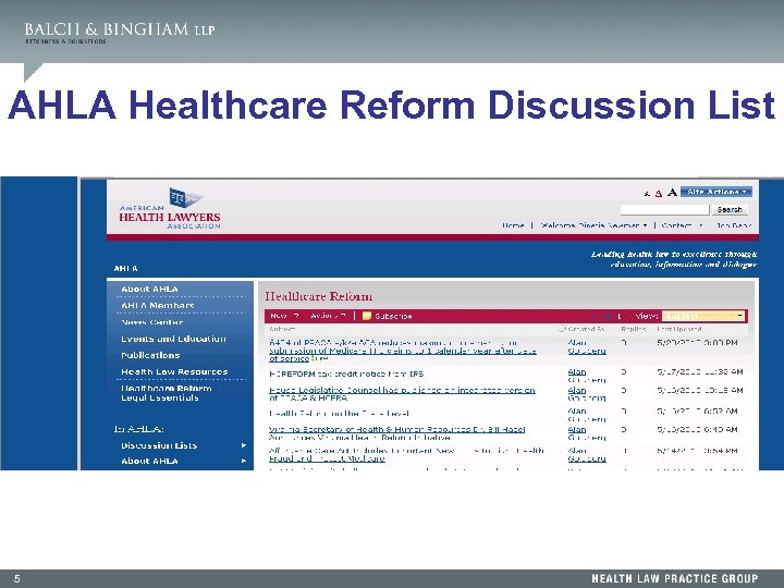 AHLA Healthcare Reform Discussion List 5
