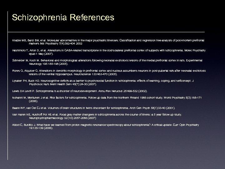 Schizophrenia References Knable MB, Barci BM, et al. Molecular abnormalities in the major psychiatric