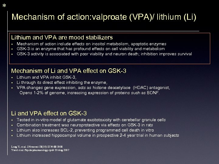 * Mechanism of action: valproate (VPA)/ lithium (Li) Lithium and VPA are mood stabilizers