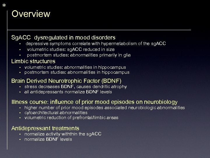 * Overview Sg. ACC dysregulated in mood disorders • • • depressive symptoms correlate