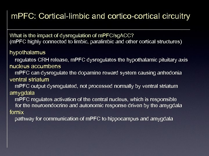 m. PFC: Cortical-limbic and cortico-cortical circuitry What is the impact of dysregulation of m.