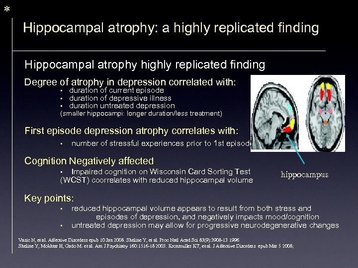 * Hippocampal atrophy: a highly replicated finding Hippocampal atrophy highly replicated finding Degree of